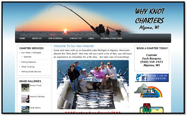 Click HERE to go to whyknotcharters.com for Salmon & Trout Fishing on Lake Michigan